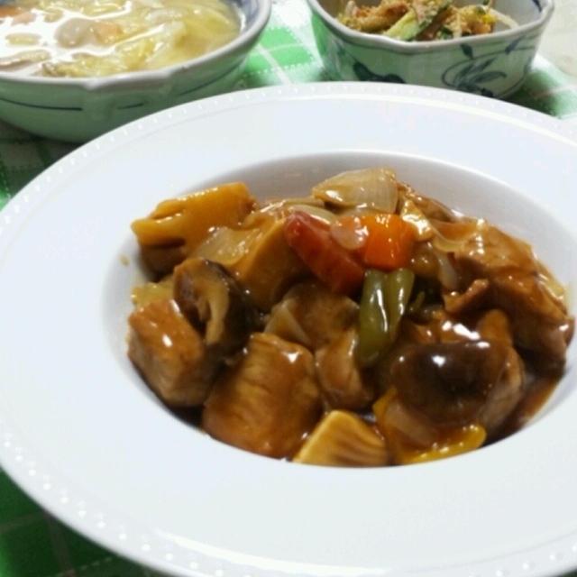酢豚ときゃべつとベーコンのスープ