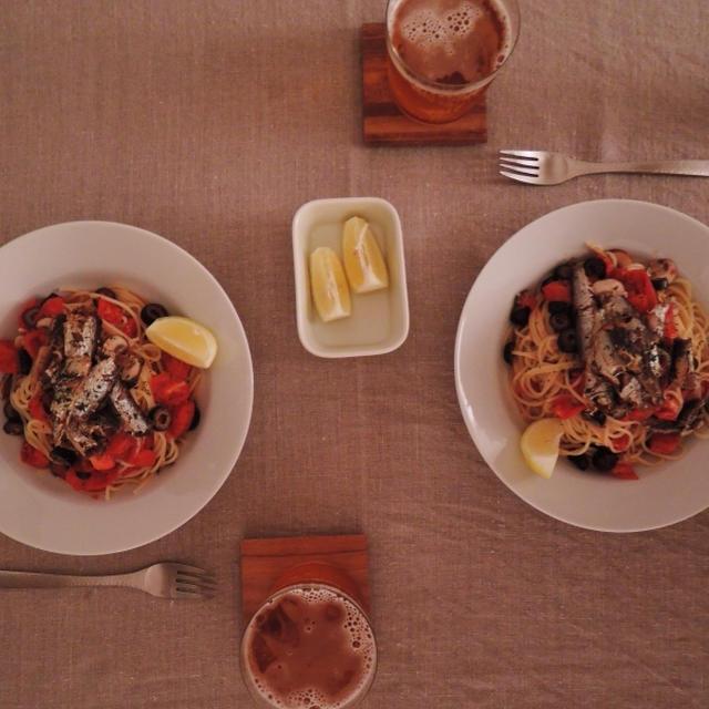 トマトとグリルオイルサーデンの冷製パスタを。