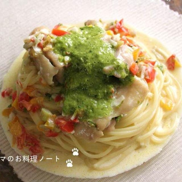 レモンバジルのチキンクリームスパゲッティでお昼ご飯☆