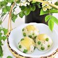 新じゃがいもとグリーンピースのバター醤油おにぎり*かわいい和菓子風