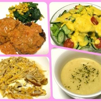 キムチクリームハンバーグ、ポタージュスープ、人参ドレッシングサラダ、モヤシと竹輪の卵いため