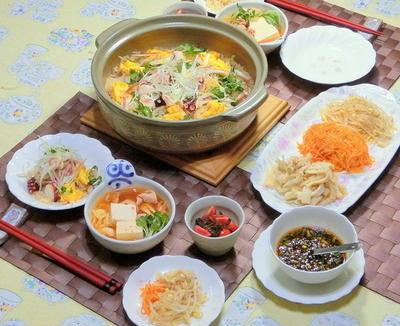 タコと香味野菜の土鍋ビビンバ