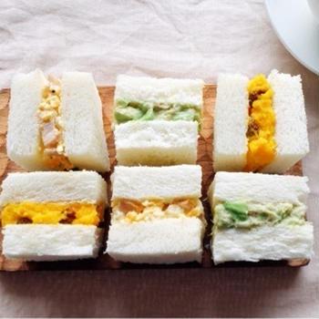 お花見にぴったり!3種の彩りサンドイッチ♪