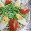もやしと豆苗のチン蒸し&トマトとゆで卵添え