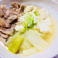 豚バラ×豆腐×長ネギのさっと煮