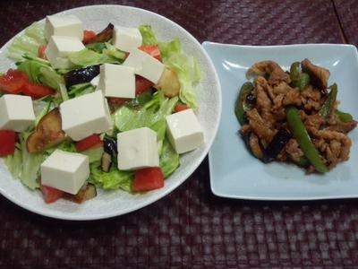 【(夏に向けてのダイエット)献立】豚肉・茄子・ピーマンの甘辛炒め、グリル野菜と豆腐盛りサラダ