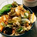 四角豆と帆立のかき揚げ丼