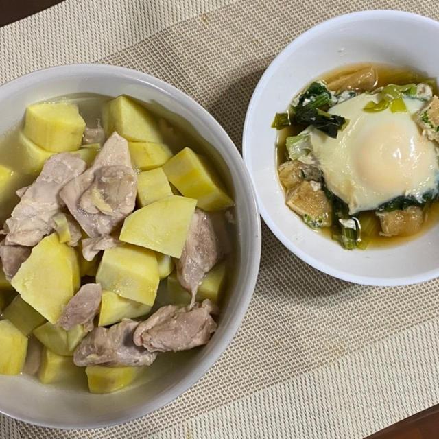 鶏もも肉とさつま芋のうま煮♪ 小松菜と油揚げの落とし卵煮♪