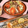 ■晩ご飯【サンマの塩焼き/生野菜は作り置きのオニオンチップで美味しく♪】