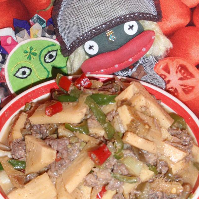 青椒肉絲カレー&トマトの胡麻酢サラダ(お家カフェ)