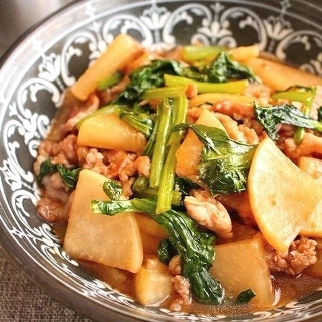 大根と小松菜とトロッと豚肉生姜甘辛炒め