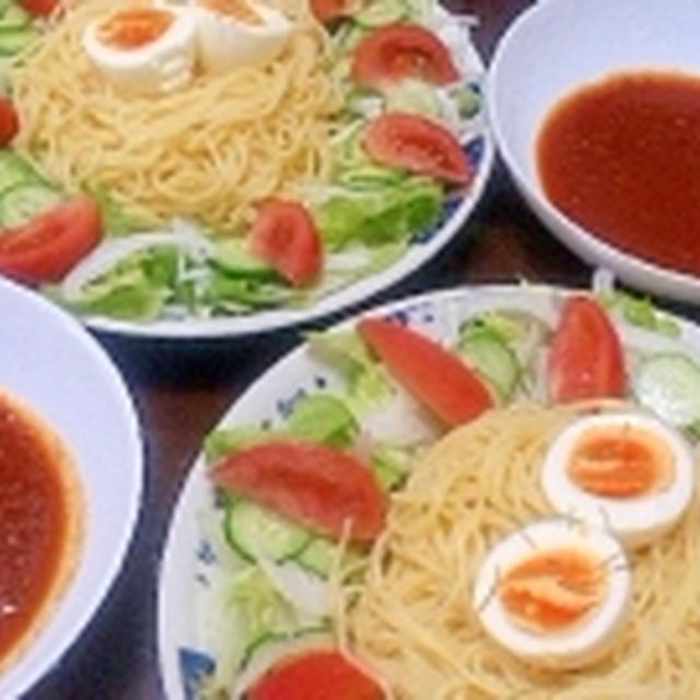 休日のランチにサラダたっぷり☆つけスパゲッティ~でプチプチパーティー