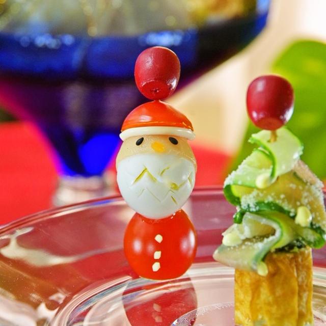 簡単可愛いオードブル♪クリスマスにサンタさんのピンチョス