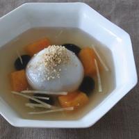 黒豆あん白玉だんごの生姜シロップ