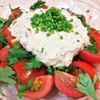 【レシピ】簡単★3分★夏にさっぱり【トマトとイタリアンパセリのツナマヨサラダ】