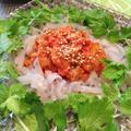 刺身こんにゃくと白菜キムチの和えもの 〜 タンピョンチェ風