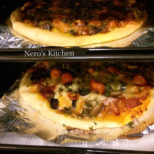 石窯オーブンで、2種の石窯クリスピーピザ♪