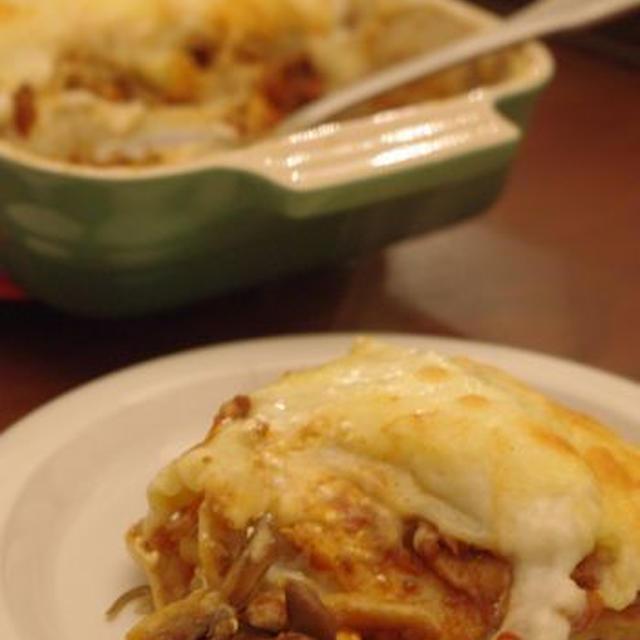 肉食女子の肉Recipe「いろいろきのこのラザニア」