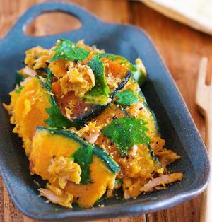 作りおきに最適♪無限に食べれる♪『焼きかぼちゃのツナしそマリネ』