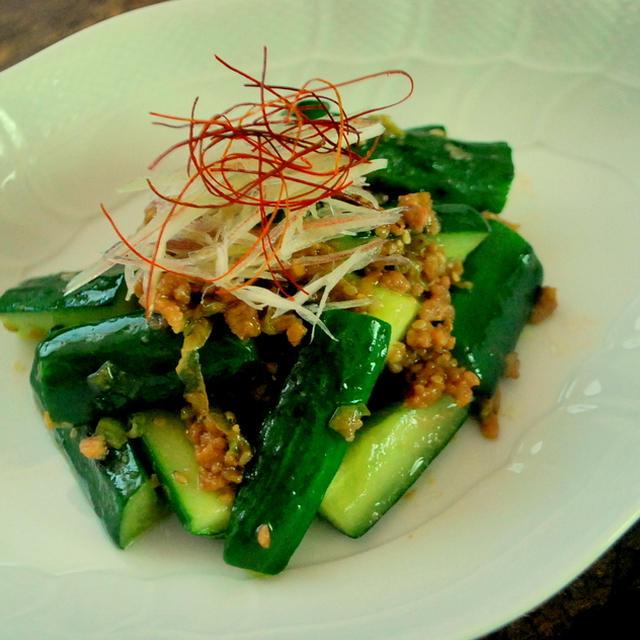 続)夏野菜のきゅうりを使って・・・肉味噌ときゅうりのパパッと炒め