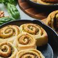 ハーブ活用|胡桃とバジルのロールパン