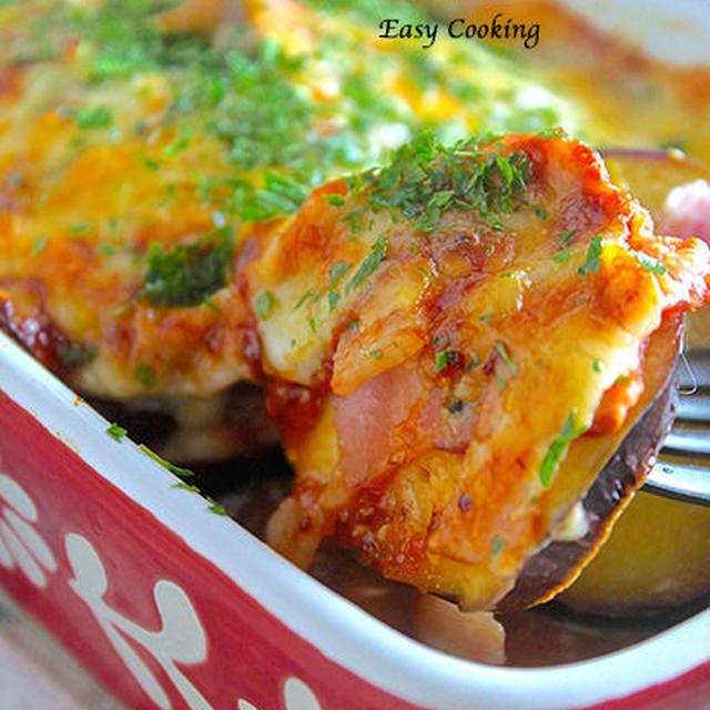 トースターで焼くだけ♪『秋茄子とベーコンのピザチーズ焼き』《簡単*節約》