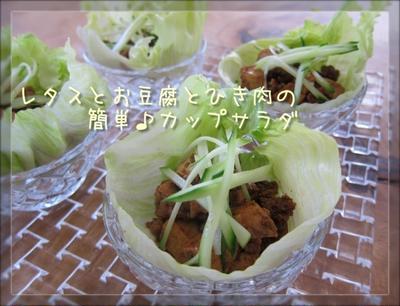少ない材料で♪レタスとお豆腐のカップサラダ&レタスとトマトのビタミンスープ