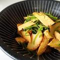 糸三つ葉と筍の麺つゆ炒め