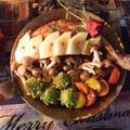 フライパンだけで豪華クリスマス 骨付き肉のアップルソテー