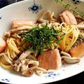 秋を感じるスパゲッティ★秋鮭ときのこのクリームソース