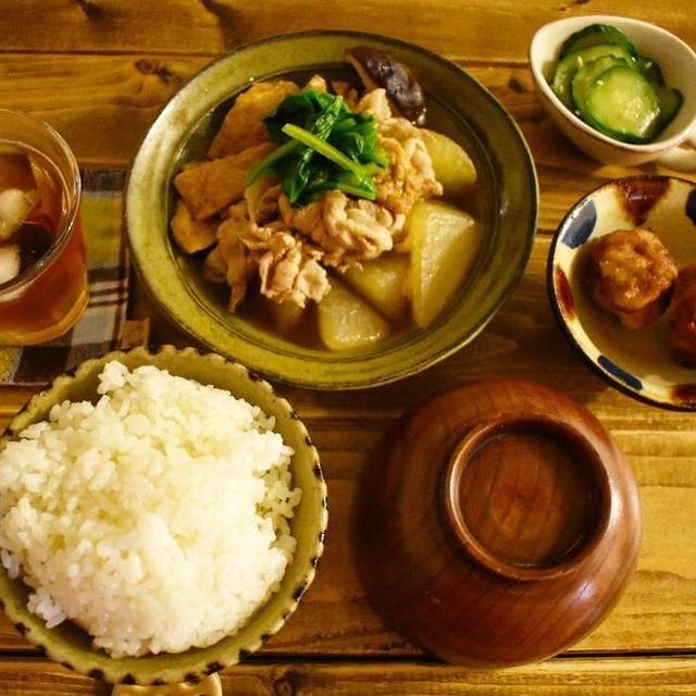 レトロな三角コーヒー【おうちごはん*献立】お稲荷さんの皮がおいしい煮物。