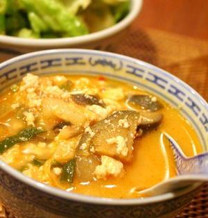 くずし豆腐と茄子のスンドゥブ風スープ & 本日お祭り!!