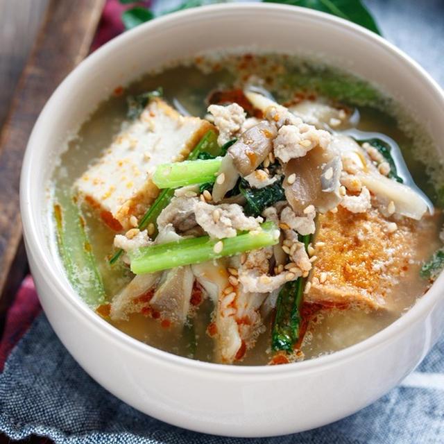 厚揚げと小松菜と舞茸のごま味噌スープ【#簡単 #節約 #時短 #包丁不要 #冷蔵庫のお掃除 #ダイエット #おかずスープ 】
