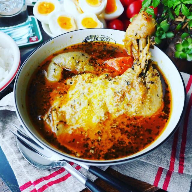 やっと出来た第2号❤️と、ちょっと豪華に週末ご飯❤️骨付きもも肉と新玉ねぎのスープカレー♪