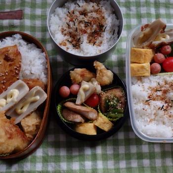 鶏の天ぷらに鶏生姜焼き弁当