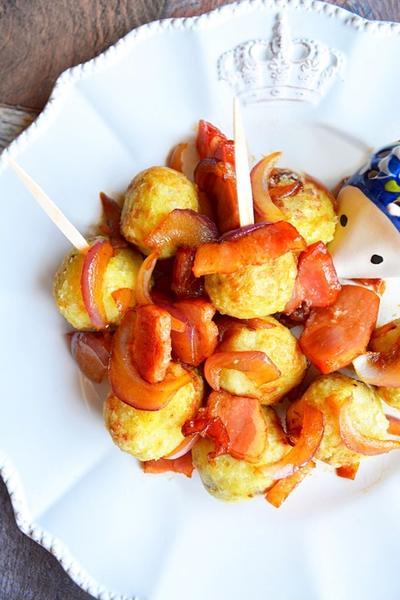 揚げ里芋の、ベー玉にんにく醤油ソテー絡め。(褒められ和風ジャーマンポテト)