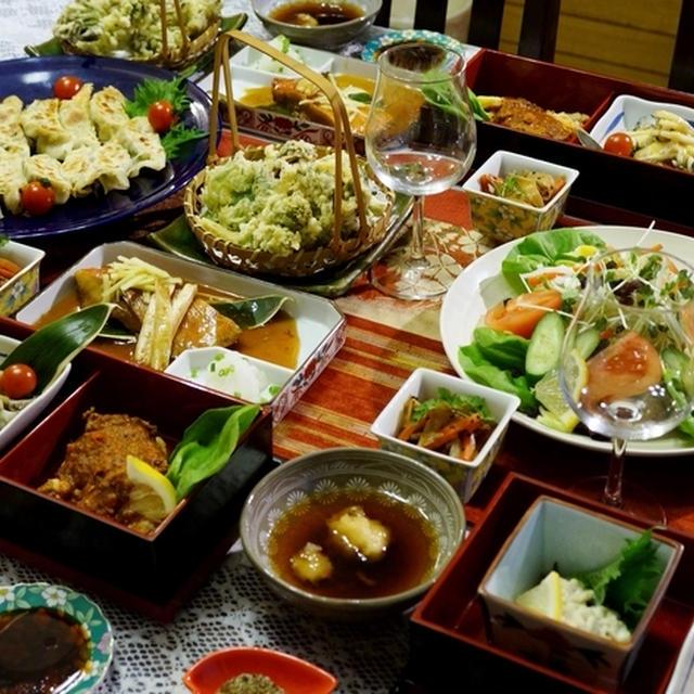 【⑥フキノトウ入り餃子/⑦フキノトウ味噌/⑦山菜の天麩羅/⑧生野菜】とおつまみ全貌編です♪