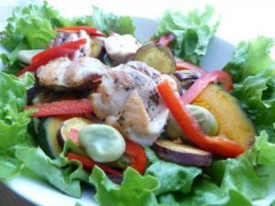 サラダ仕立て☆鶏もも肉のレモンバターソテー と スプーン。