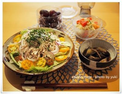 お気に入りの和食器と棒々鶏で夜食ごはん。