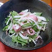 新玉ねぎとハムと水菜のマスタードサラダ