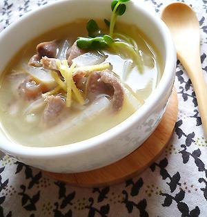 大根と砂肝の生姜たっぷりスープ♪