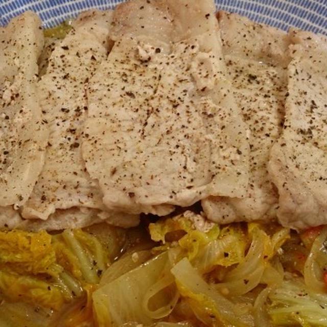 野郎飯流・豚薄切り肉の白菜とトマトのコンソメ蒸し