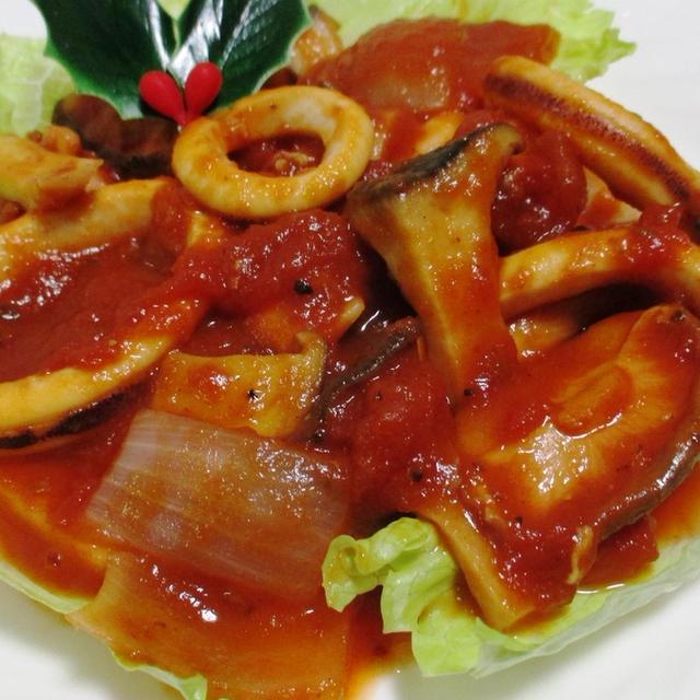 イカときのこのトマト煮<ハープの風味たっぷり>