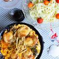 柳川風帆立を冷凍稲庭うどんと食べる  おっ 粋だねーって。  レンチン冷凍うどん×天美卵 by 青山 金魚さん