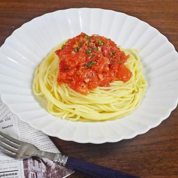 シンプルながらも激うま!超簡単 完熟トマトの冷製パスタ