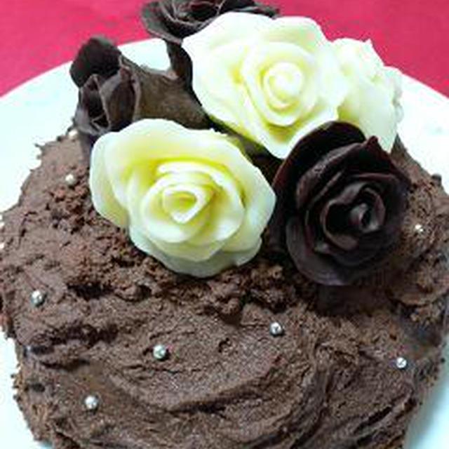 100円ショップのミニボウルを型に薔薇チョコケーキ♪バレンタインに♪(*≧艸≦)