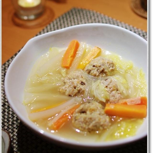 高野豆腐の肉団子入り野菜スープ