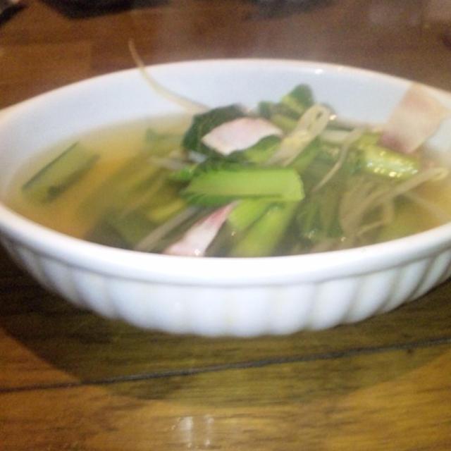 ギザギザ仮面の小松菜ともやしとベーコンスープ