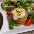 チーズがとろり☆ミルフィーユ仕立ての豆腐・おから入りハンバーグ・ヨーグルトサラダ等・・の晩御飯♪