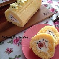 レンジ2分♪ロールケーキ・サレ(お塩のロールケーキ) & クリパ(2)